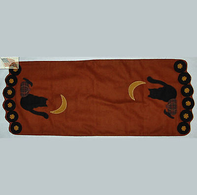 FALL HALLOWEEN felt CAT and MOON and PUMPKIN and CROW deco runner apx 36x13 3/4
