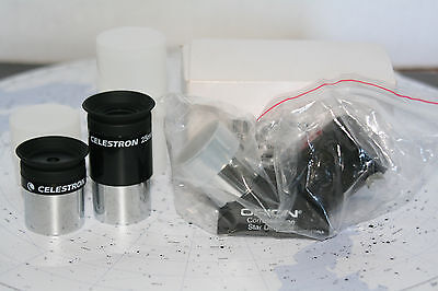 Orion Correct Image Diagonal NIB with two NIB Celestron Eyepieces