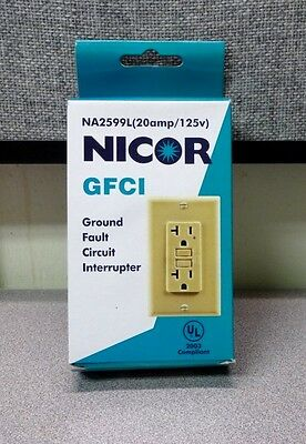 Nicor GFCI Ground Fault Circuit Interrupter 20A 125V, NA2599L Free Shipping!