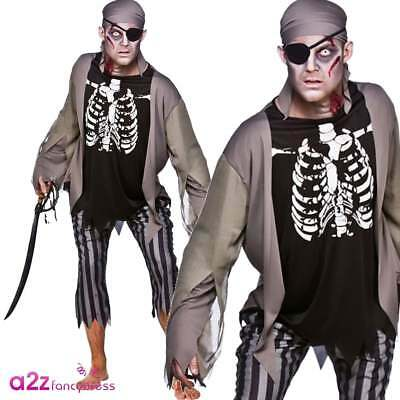 Mens Zombie Pirate + Eyepatch Adult Halloween Horror Fancy Dress Costume Outfit