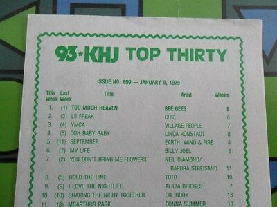 93/KHJ JANUARY 9 1979 Boss 30 SURVEY #699 Bee Gees + CD & REAL DON STEELE MAGNET