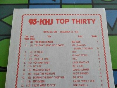 93/KHJ DECEMBER 19 1978 Boss 30 SURVEY #698 BEE GEES CD & REAL DON STEELE MAGNET
