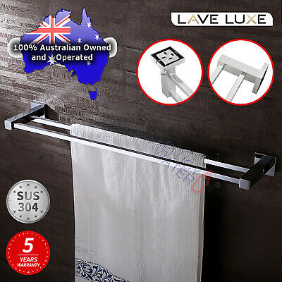 Square Double Towel Rail Rack Holder Bar 600mm Chrome Stainless Steel 304 Hanger