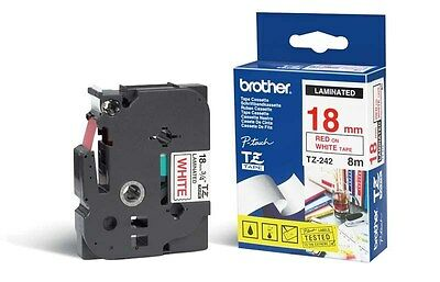 Brother P-touch TZ-242 (18mm x 8m) Red On White Gloss Laminated Labelling Tape