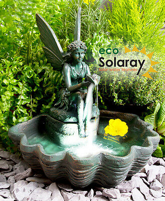 30cm Fairy Clam Shell Programmable Solar Power Water Feature Fountain Outdoor
