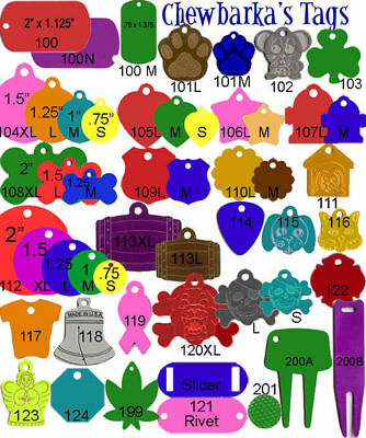 100 Chewbarka Pet ID tags engravable Anodized Aluminum blank wholesale Dog tag