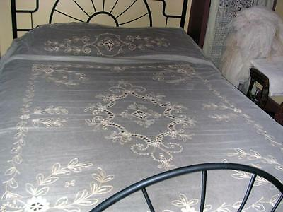 STUNNING ANTIQUE TAMBOUR NET LACE BEDSPREAD OR CURTAIN PANEL -  PRISTINE