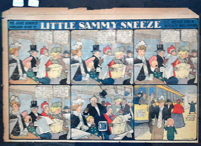 LITTLE SAMMY SNEEZE Color Strip 4/23/1905 WINSOR McCAY He Never Knew When Coming