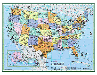 """USA United States Wall Map Color Poster 22""""x17"""" - LARGE PRINT Rolled Paper 2019"""