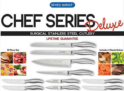 Sharp Select Delux Chef Series Surgical Grade Stainless Steel 10 Piece Knife Set