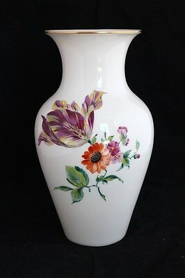 ANTIQUE KPM GERMANY BUD VASE HAND PAINTED FLOWERS SCEPTER BLUE MARK
