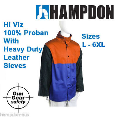 Welding jacket - Hi Viz Proban with HD leather Sleeves - L to 6XL - AP2630OB