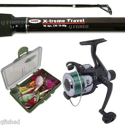 9ft Travel Spinning Fishing Rod & Reel 15 Spinners Lures Traces 6lb Line On Reel