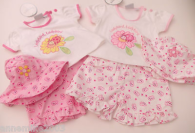 BNWT Baby girls pretty lady bird top, shorts and hat. 3-6 m 6-9 m 9-12 months