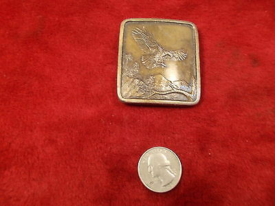 "Nice Old Vtg Solid Brass ""Bald Eagle"" 1977 Indiana Metal Craft Men's Belt Buckle"