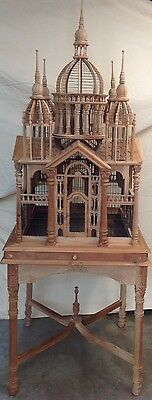 6 FT Antique Victorian Cathedral Castle Carved Wood Bird Animal Cage & Stand