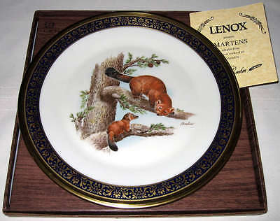 LENOX Boehm 1981 Woodland Wildlife Brown Furry MARTENS Plate IN/OUTER Bxs+COA