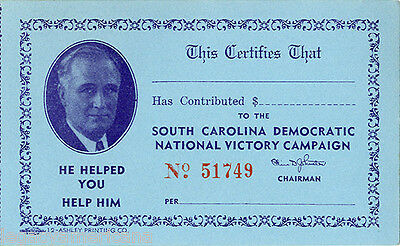 1936 Franklin Roosevelt South Carolina Reelection Campaign Card (2222)