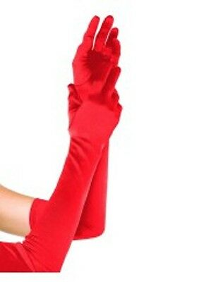 Long Satin Evening Party Opera Gloves Fancy Dress Wedding Prom Cocktail- Red