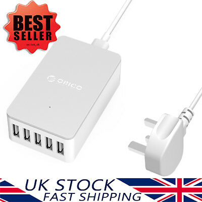 Orico 5-Port USB Charging Station Desktop Wall Charger for iPhone iPad Samsung