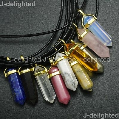 Natural Gemstone Hexagonal Point Reiki Chakra Pendant Real Leather Necklace Gold