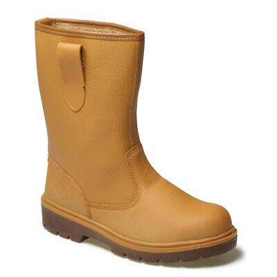 DICKIES SAFETY LINED RIGGER BOOTS | Winter Warm Mock Fur Lining - Steal Toe Tan