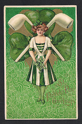 Winsch St. Patrick's Day Postcard~Samuel Schmucker~Irish Beauty~Shamrock~Pipes