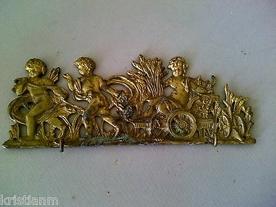 19th century Cast Brass Wall Panel with 3 Putti and Chariot