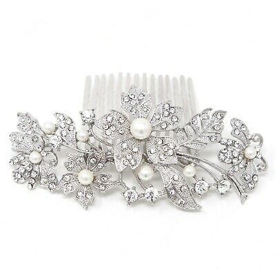 beautiful elegant wedding bridal hair comb Ivory Color pearl and crystal #1124