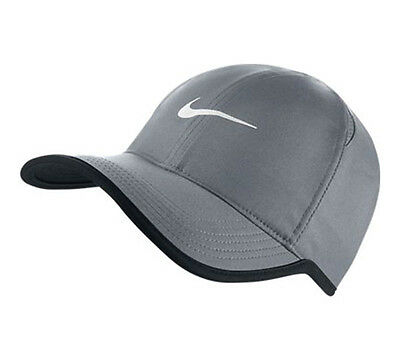 New NIKE Dri-Fit Feather Light Running Tennis Hat Cap GREY/WHITE 679421 GRAY