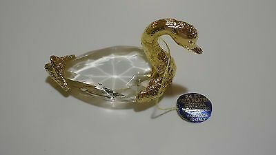 Menargerie 24 kt Gold Plated Crystal Swan Hand Made in Italy Paperweight