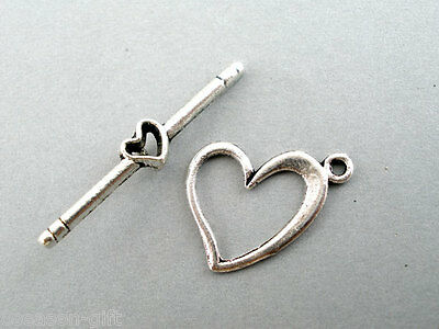 40Sets Silver Tone Love Heart Toggle Clasps 13x17mm
