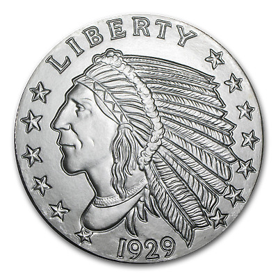 5 oz Silver Round - Incuse Indian - SKU #57094