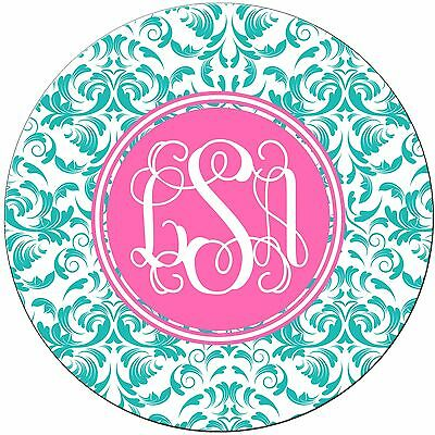 Pretty Monogrammed Round Mouse Pad - Damask Teal Pink Personalized Custom Gift
