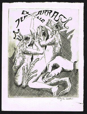 Surrealist frog by Elly de Koster signed etching EX-LIBRIS BOOKPLATE
