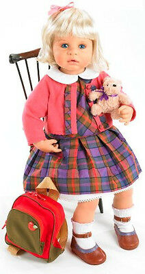 Girl Baby Doll With Backpack And Teddy Bear Cute School Outift Adorable Dress
