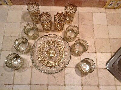 HOLLYWOOD REGENCY Glasses with Matching Tray Set Gold Must HAVE!!!