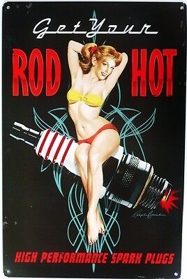 GET YOU ROD HOT high performance spark plugs  Metal tin Sign