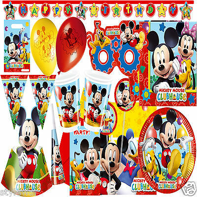 Boys Disney MICKEY MOUSE CLUBHOUSE Birthday Party Supplies Tableware Kit 8- 16