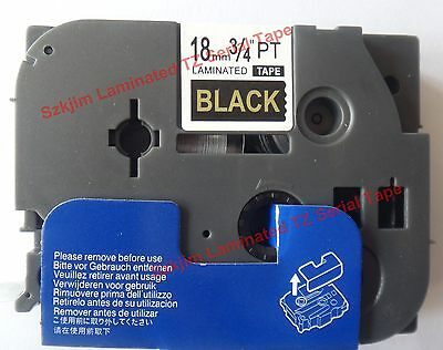 Brother TZ-344 P-Touch Laminated Compatible Gold on Black Tape 18mm 8m TZ-e344