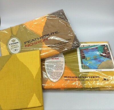 Vintage Cannon Royal Family Featherlite Bed Sheets Twin Seven Seas Yellow NIP