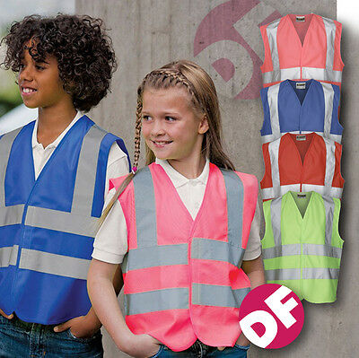 Childrens Hi-Viz Superior high Visibility Safety Vests 4 colour NEW Personalised