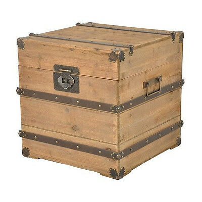 Brown Antique Rustic Trunk Box Coffee End Bedside Table Storage Chest