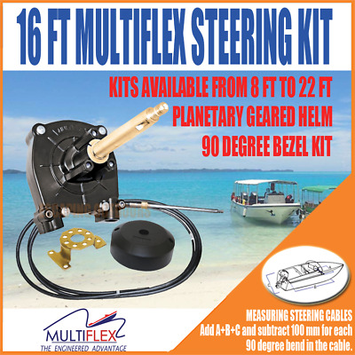 Multiflex Boat Steering Cable Kit 16FT (4.88m) Latest Model with optional extras