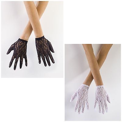 Short Lace Gloves Black White Womens Adult Costume Fancy Dress One Size NEW