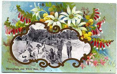 C1910 Pt Npu Vignette Postcard Aboriginals And Whiteman Nq V99