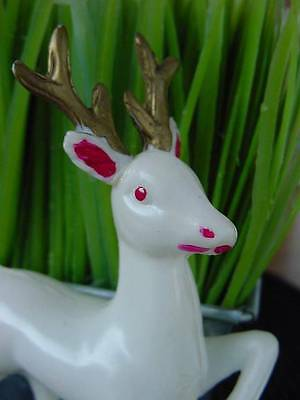 "VINTAGE CHRISTMAS REINDEER feather light plastic celluloid weight 4"" stands alon"