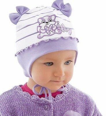 New Baby Girl Girls Infant Hat Spring Autumn Cotton Cap Kitty 0 -3 months