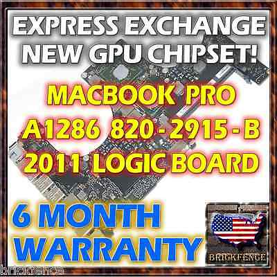 "Exchange Macbook Pro 15"" A1286 820-2915-B 2011 Logic Board Repair New Gpu Reball"