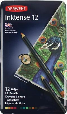 Derwent Inktense Pencil Set in Metal Tin - Authentic - 12 Assorted
